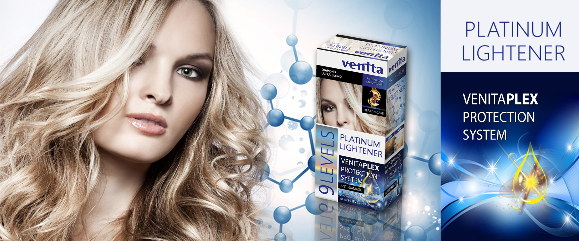 This is a blonde woman presenting luxurious hair lightener with protection system