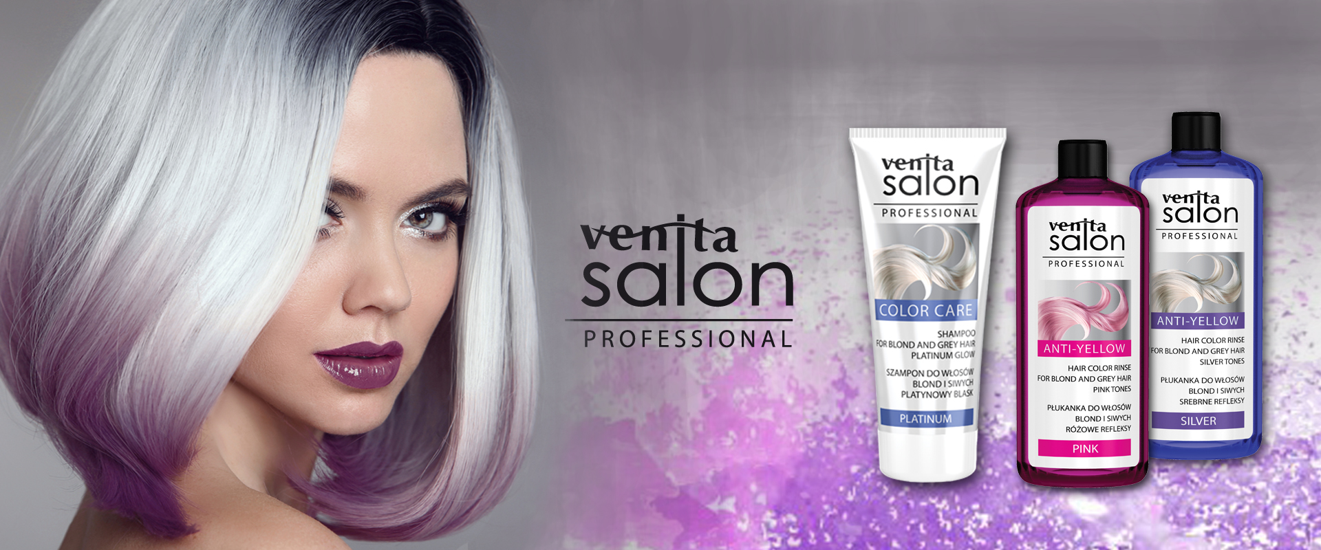 There is a young woman with gray hair and purple tips presenting revitalising hair shampoos