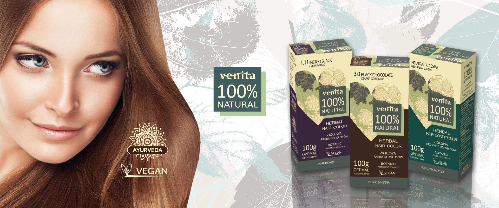 This is a young woman with light brown hair showing natural vegan hair dyes with pure henna