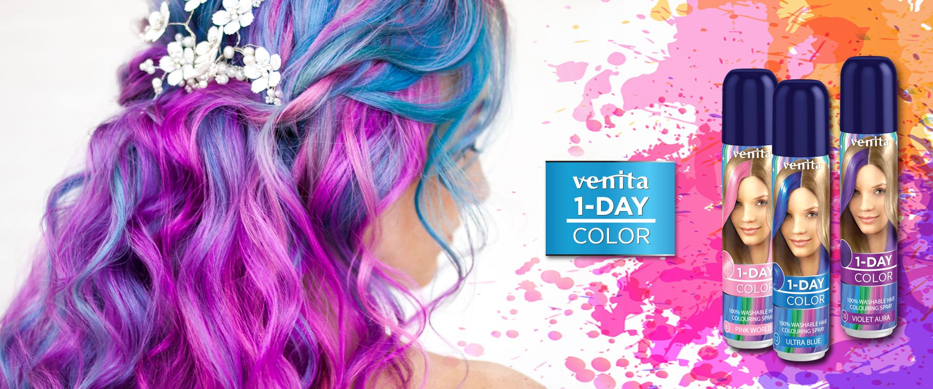 There is a young woman with colorful long hair and one day colour hair sprays
