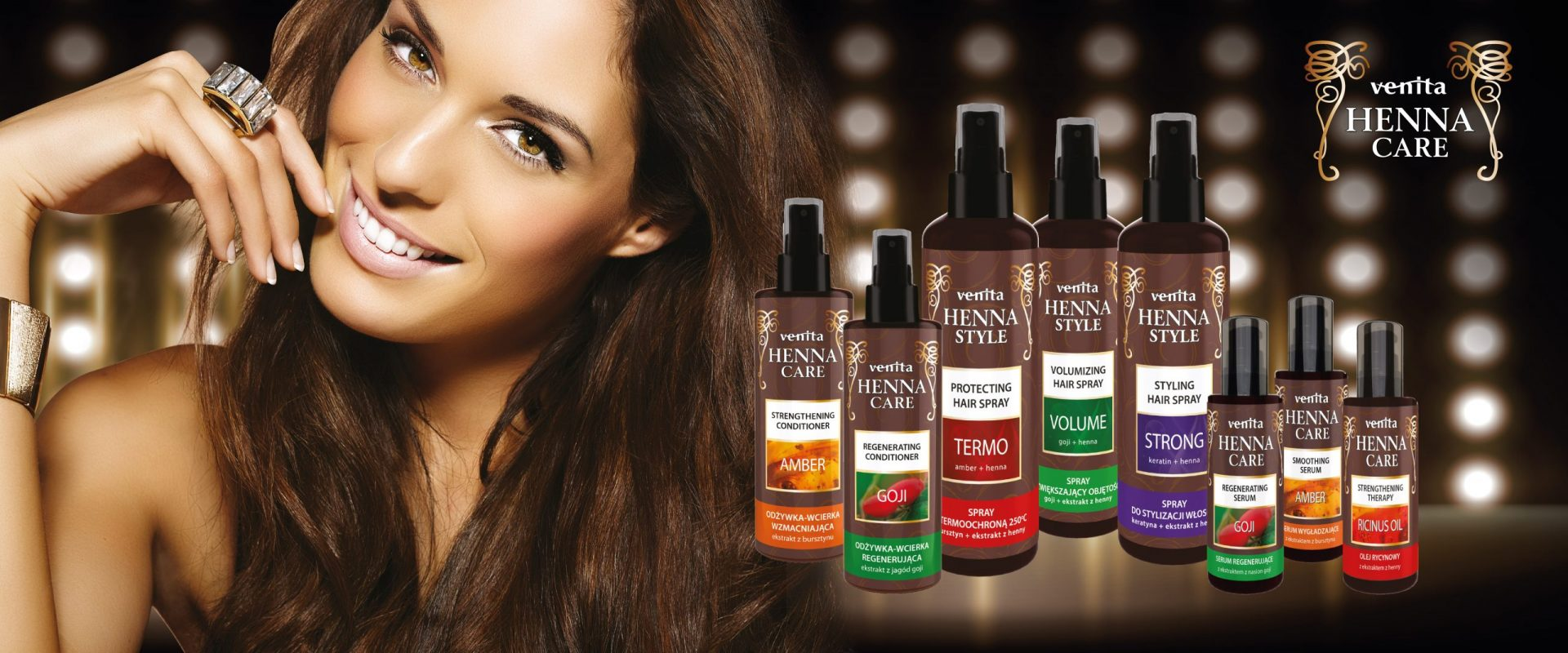There is a beautiful woman presenting hair care products